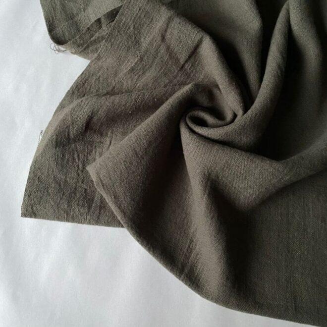 Ткань у из крапивы ramie цвет Хаки оливковый