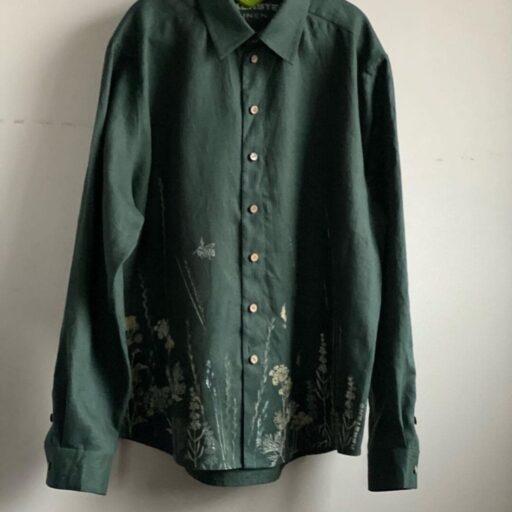 мужская рубашка льняная купить с росписью Фото товара