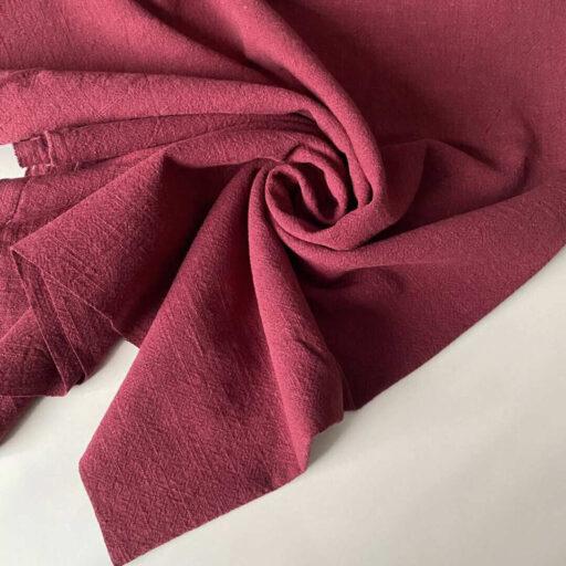 Льняная Ткань красная купить Лен с хлопком вареный