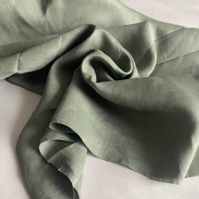 льняная ткань цвета хаки
