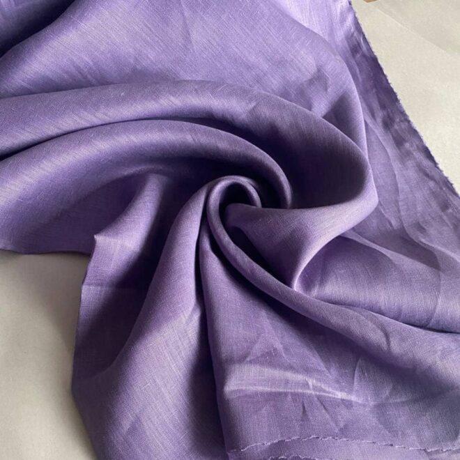 льняная ткань сиреневого цвета