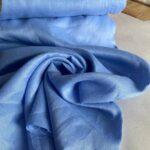 льняная ткань голубого цвета
